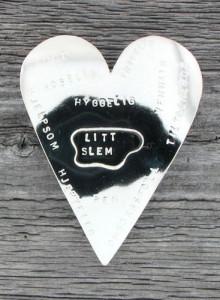 Hjertebrosje med tekst
