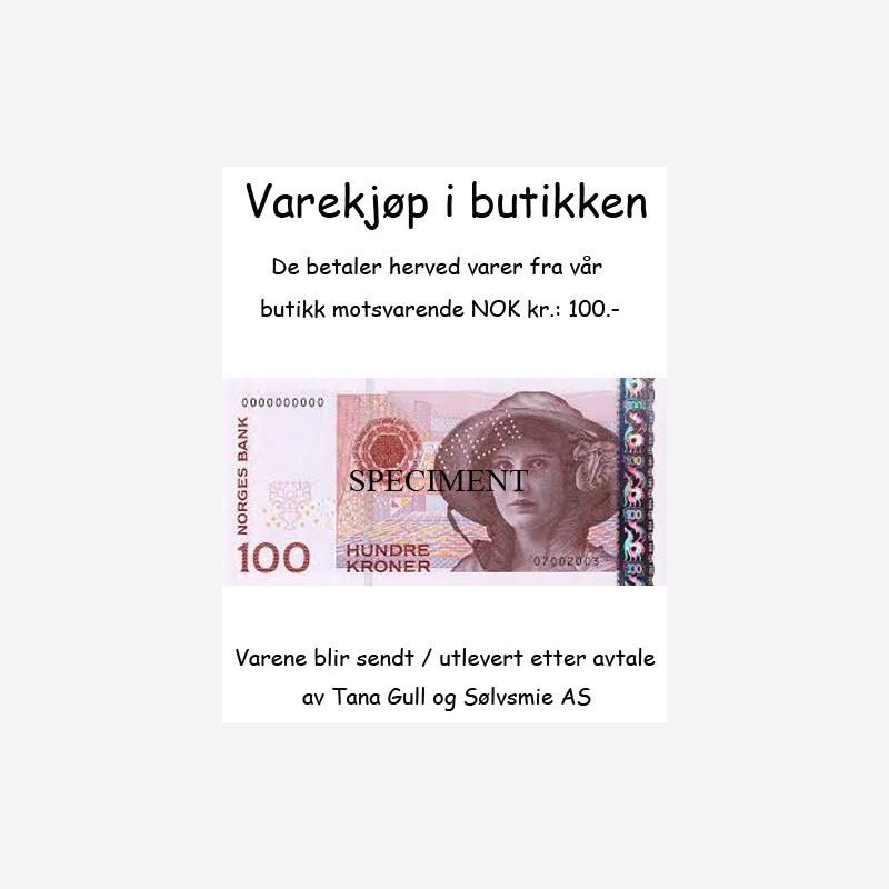 Varekjøp i butikken kr 100.-