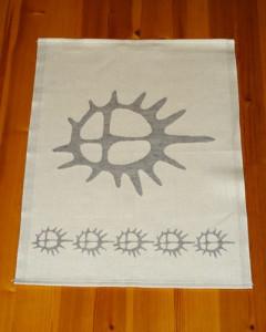 Sol tekstil kjøkkenhåndkle hvit/grå sol