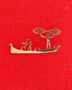 Felszeichnung eines Bootes